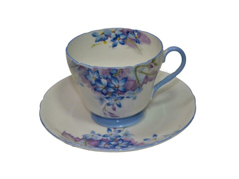 Blue spray cup and saucer