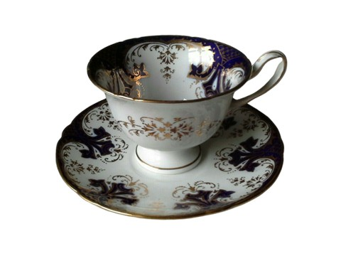Cobalt and Gold cup and saucer